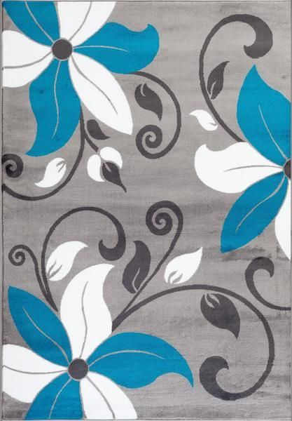 Turquoise Gray Floral Transitional Area Rugs