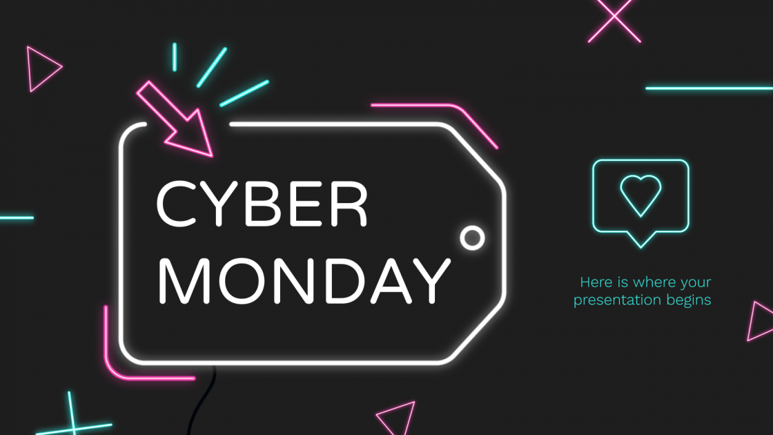 Neon Cyber Monday Google Slides Theme And Powerpoint Template In 2020 Google Slides Themes Cyber Monday Powerpoint Templates