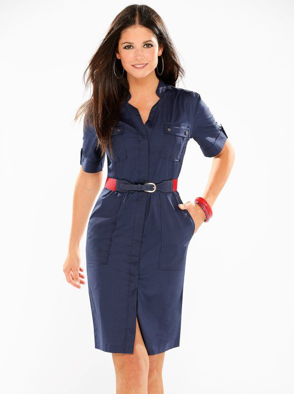 Vestido camisero safari mujer manga corta  3fc6236a96c9