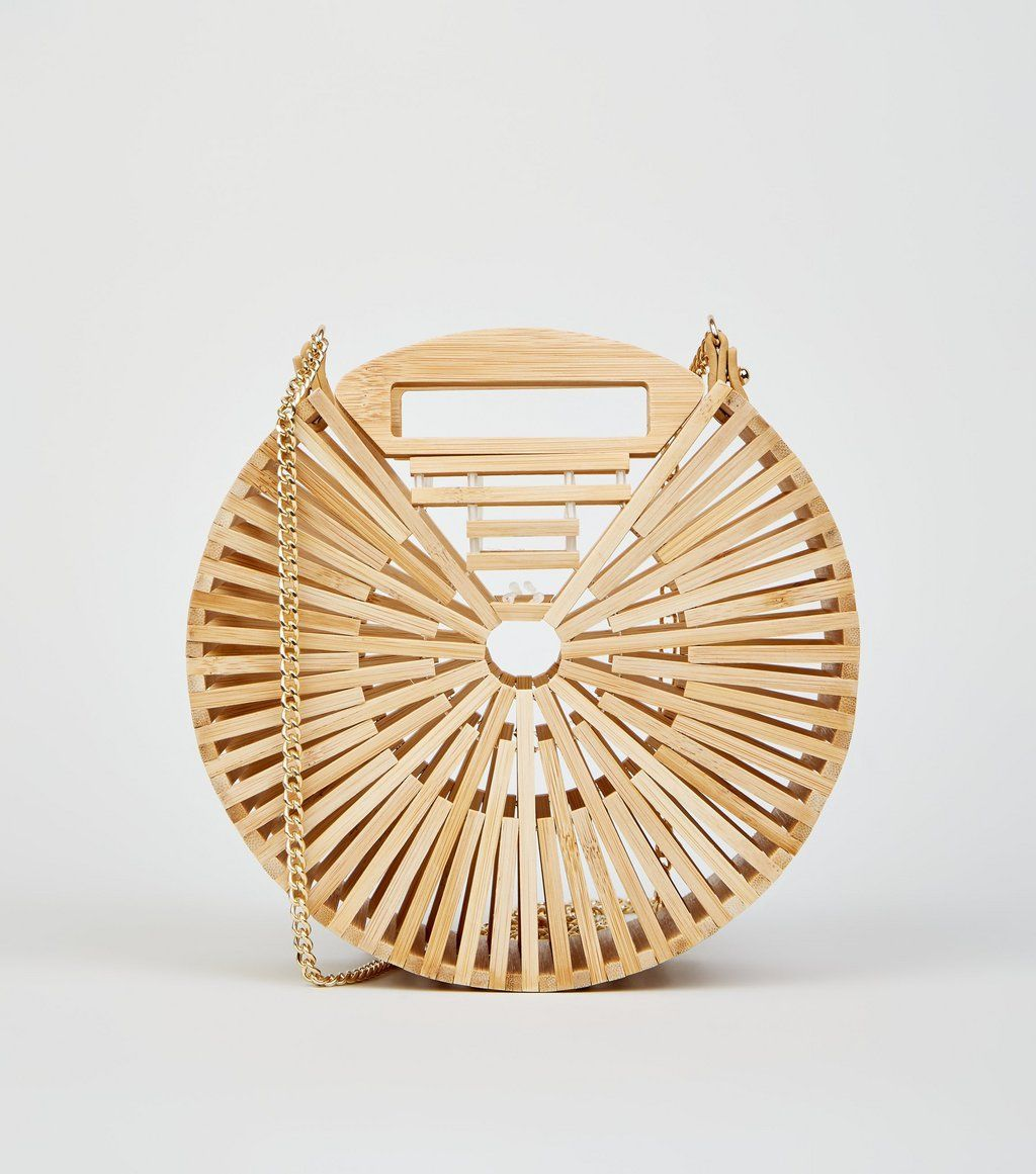 2f2891e69f3 Stone Slatted Bamboo Round Shoulder Bag in 2019 | Like - Bags ...