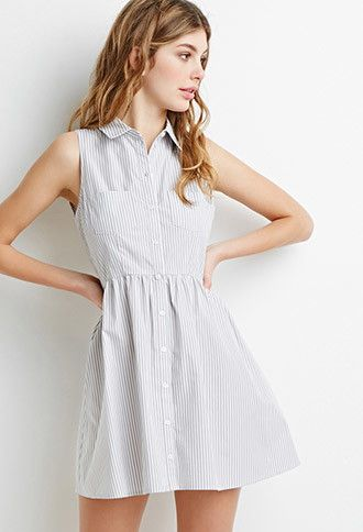 Striped Button-Down Dress | Forever 21 Canada