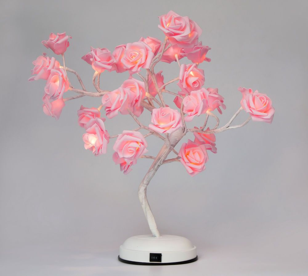 Pink Rose Led Light Tree Desk Table Lamp Home Decor Rose Light Warm White Gift Rose Lights Diy Lamp Shade Pink Desk