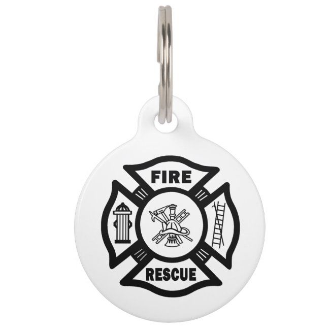 Fire Rescue Pet Name Tag
