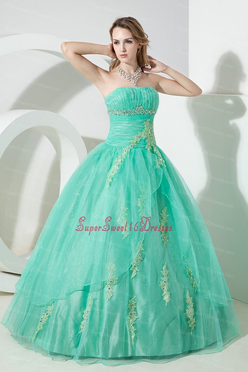 turquoise sweet 16 dress beading and embroidery ball gown