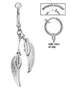 Fake Belly Navel Non Clip On Piercing Angel Wings Dangle Ring