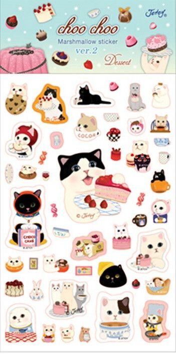 Kawaii Choo-Choo Cat Bubble Stickers - MIMO Pencil Case Shop  - 3