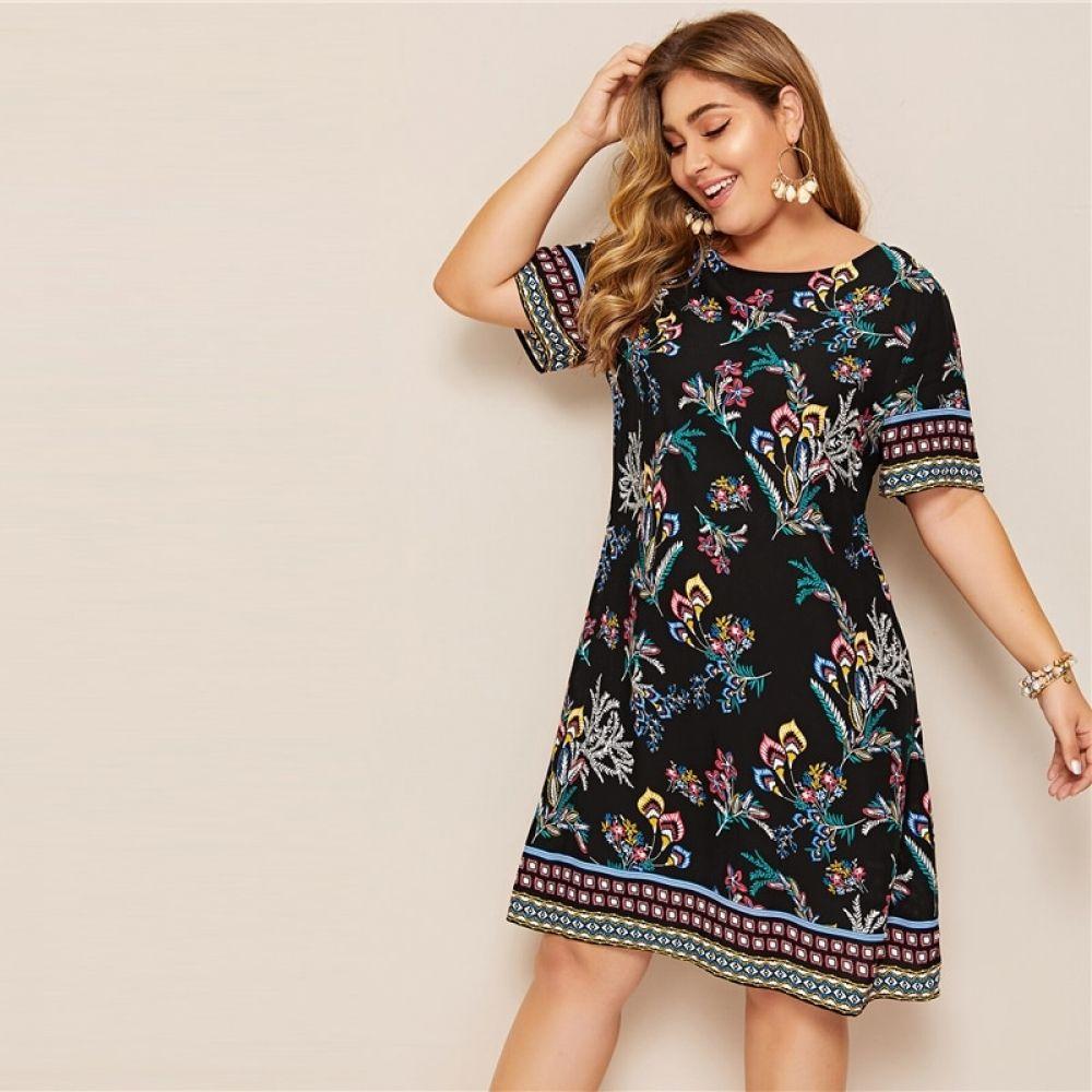 Plus Size Tribal And Botanical Print Boho Dress 2019 Women Summer Tunic Short Sleeve Straight Shift Geometric Midi D Printed Tunic Dress Print Dress Boho Dress [ 1000 x 1000 Pixel ]