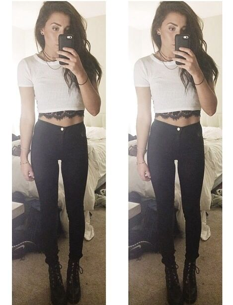 Black skinny jeans with crop top