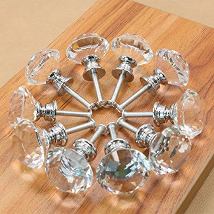10 Pieces Drawer Knob Pull Handle Crystal Glass Diamond Shape Cabinet Drawer Pulls Cupboard Knobs with Screws for Home Office Cabinet Cupboard Bonus Silver Screws DIY