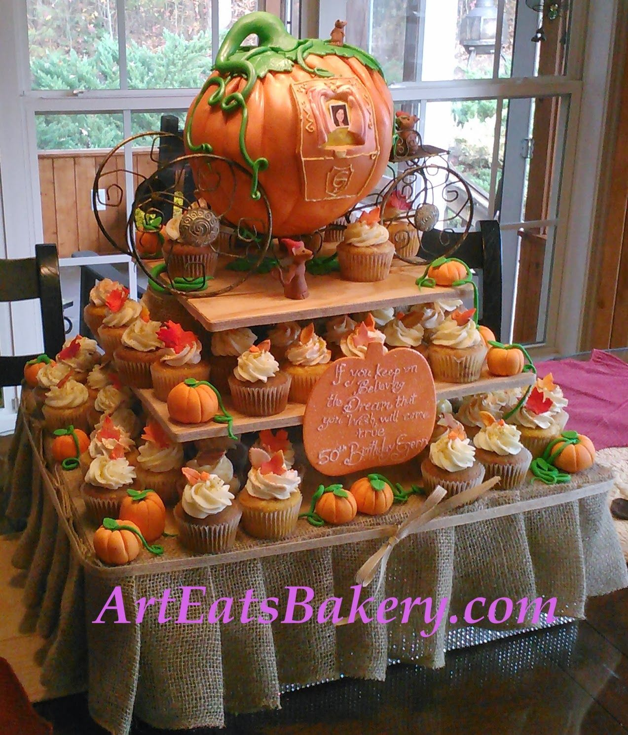 clombiaartcake Cinderella pumpkin carriage princess 50th