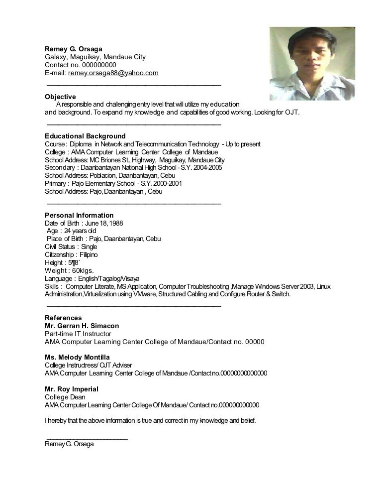 Remey Resume Sample Best Remey Resume Sample Resume Sample For Ojt It Really Is Well Kn Resume Examples Resume Objective Sample Resume Objective Examples