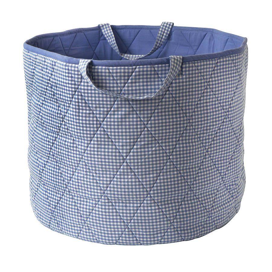 Blue Gingham Toy Storage Basket