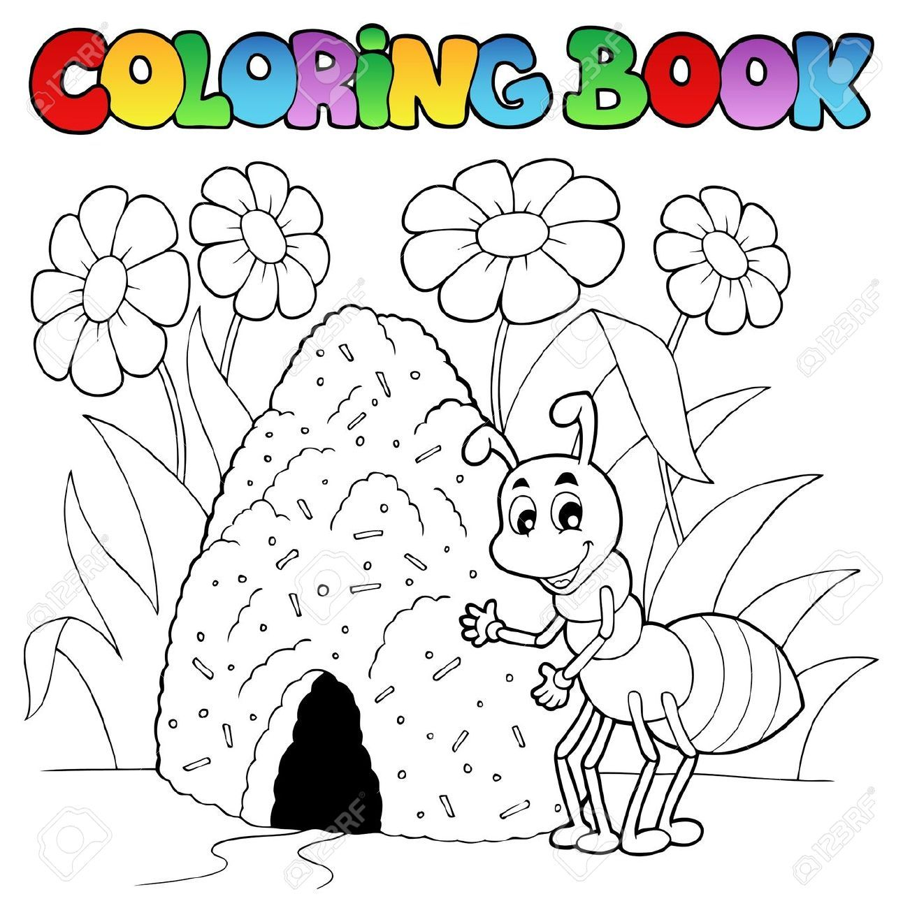 Stock Photo Libro De Colores Libros Para Colorear Y Hormigas
