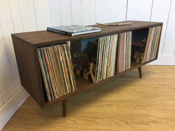 Modern Holz Basteln ~ Low boy mid century modern lp album storage cabinet featuring sapele
