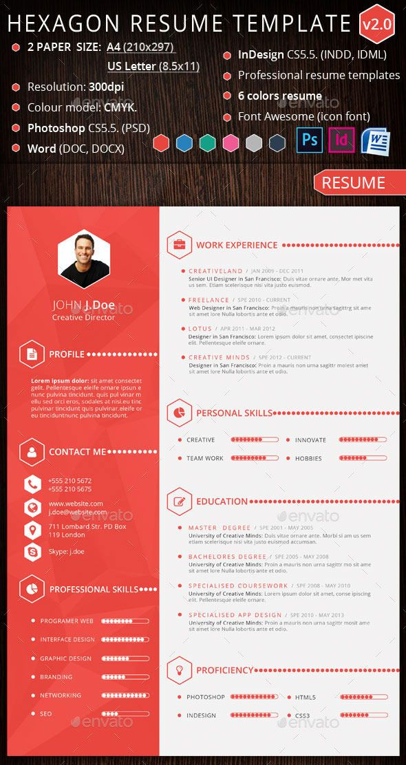 Hexagon creative resume template design design Pinterest