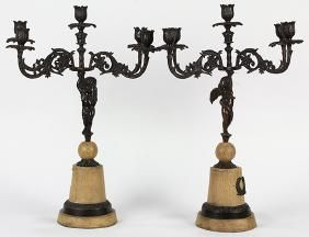 Pair Of Rennisance Revival Bronze Figural 5-light
