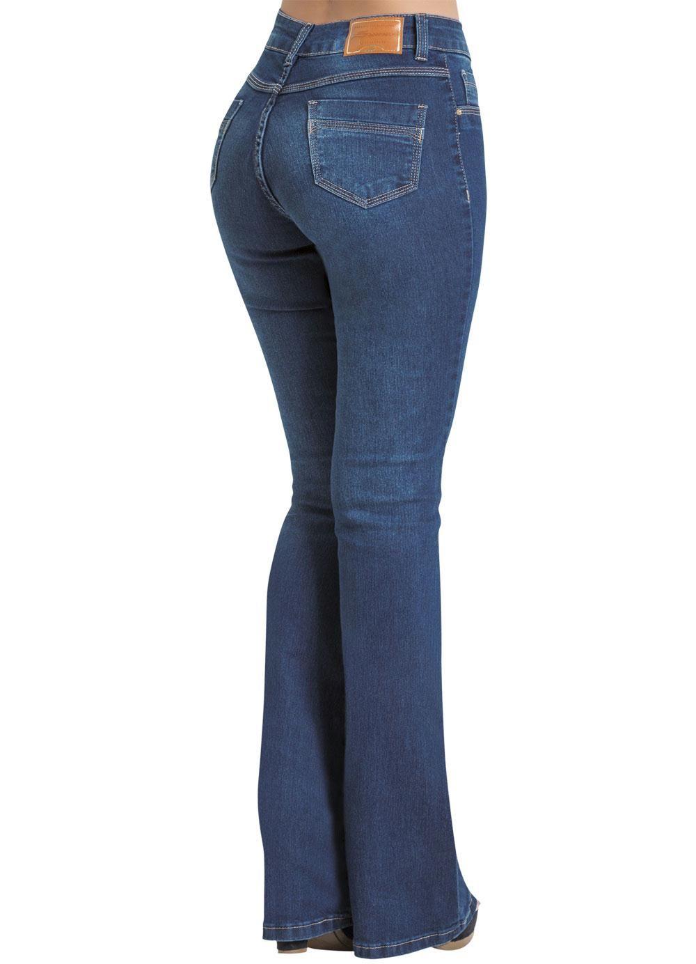 1aeeb3e6a Calça Jeans Sawary Azul Modelo Flare - Posthaus