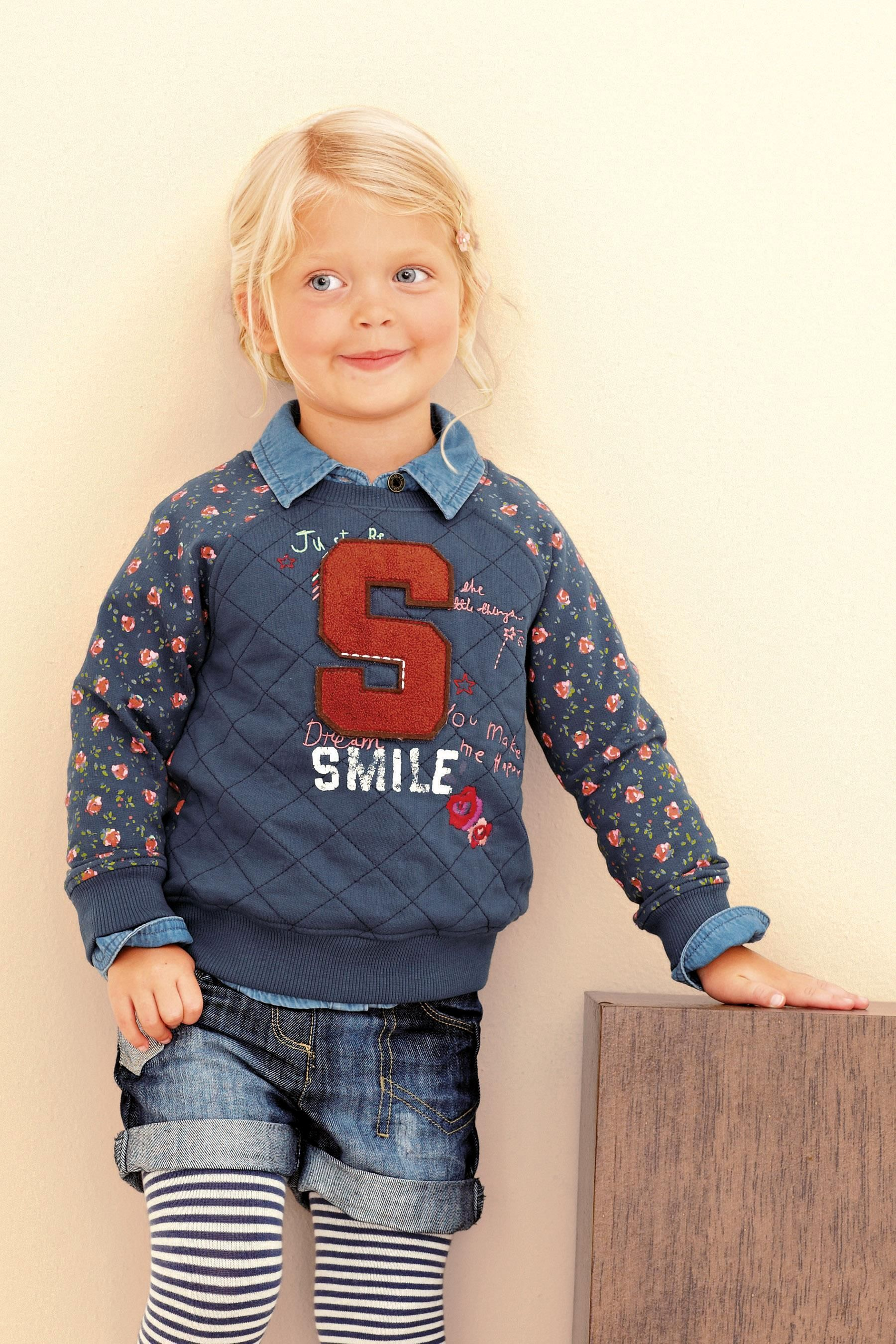 Buy Navy Varsity Ditsy Crew Neck Sweater (3mths-6yrs) from the Next UK online shop