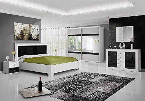 Chambre complète ROMA noir et blanc laqué avec LED | Design ...