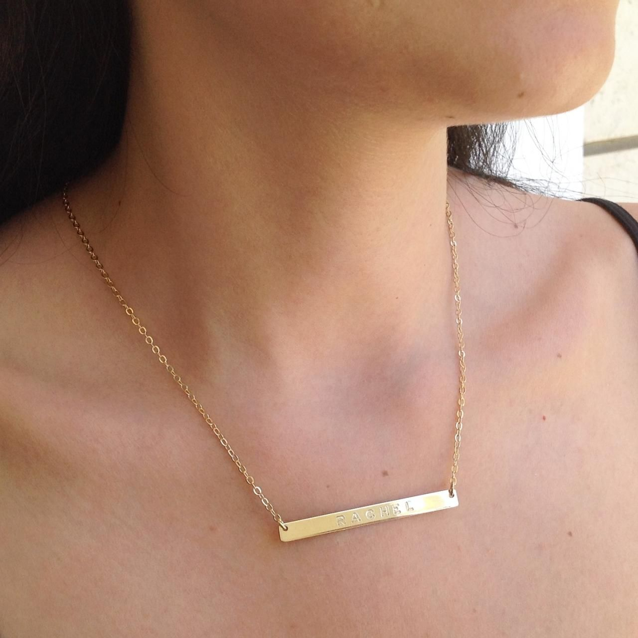 Personalized Bar Necklace, Gold Nameplate Necklace, Custom Bar Necklace, Gold Filled Necklace B014 on Luulla
