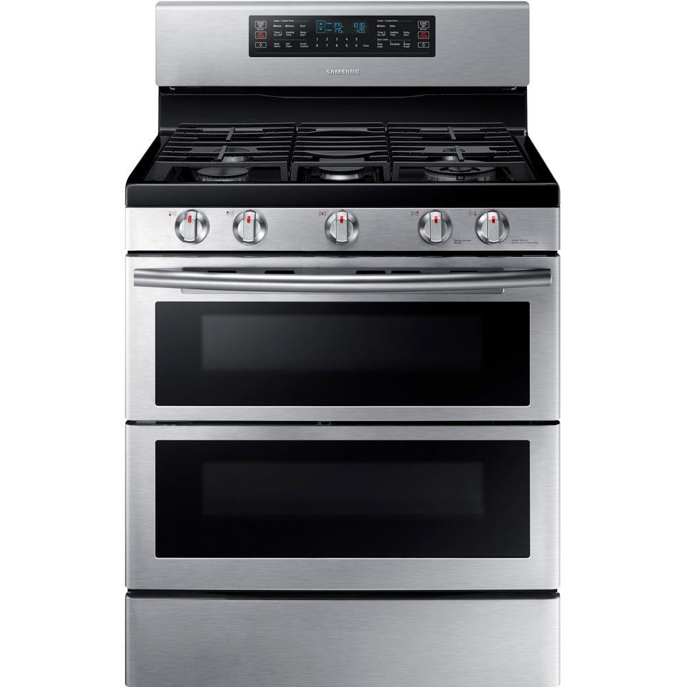 Samsung 30 In 5 8 Cu Ft Double Oven Gas Range With Self