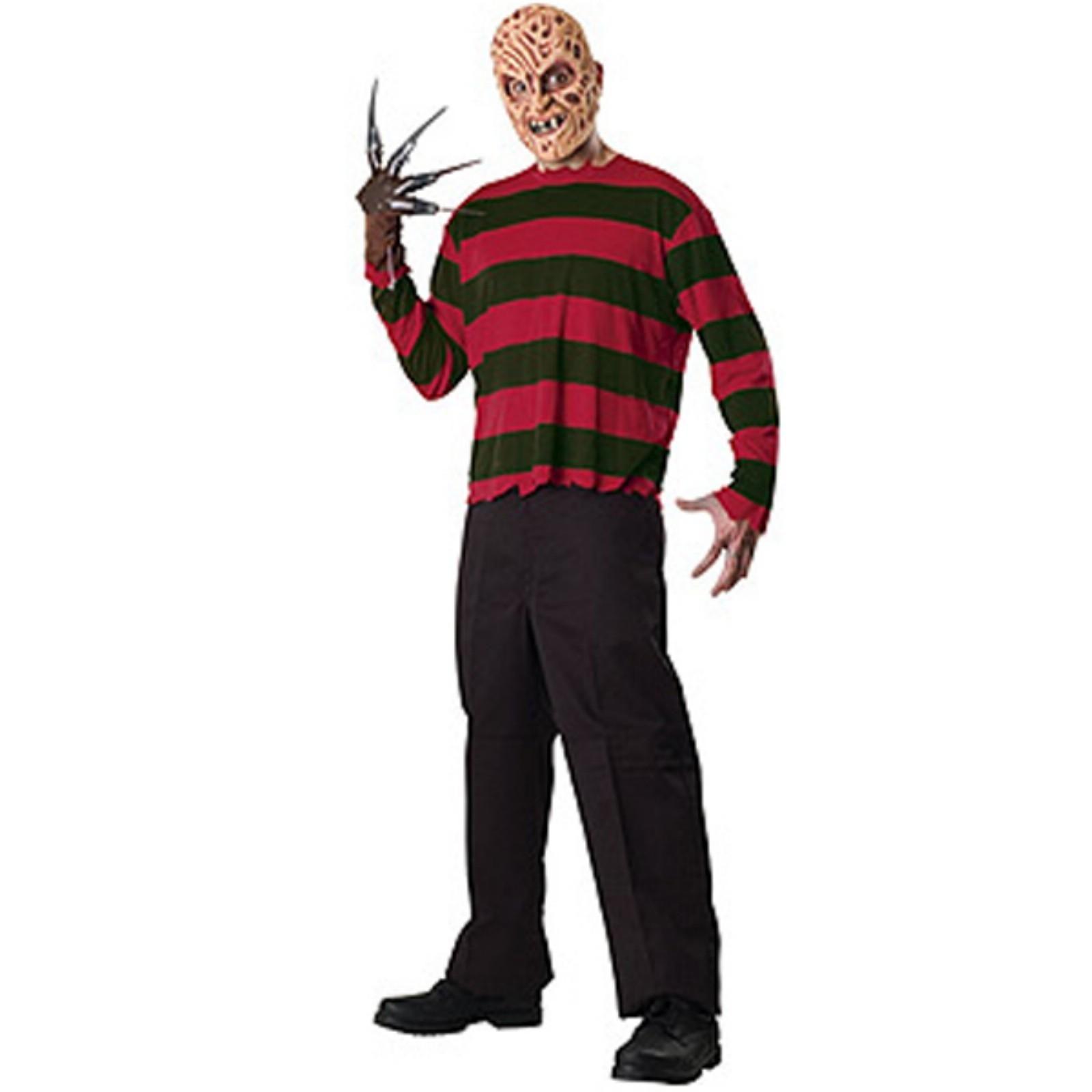 Adult Mens Freddy Krueger Mask Glove /& Shirt Halloween Fancy Dress Costume Kit