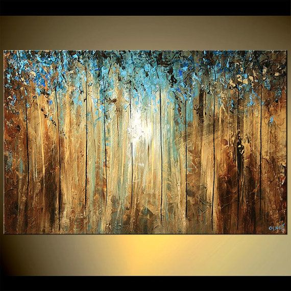 Abstract landscape tree painting deep forest blue brown for Painting a forest in acrylics