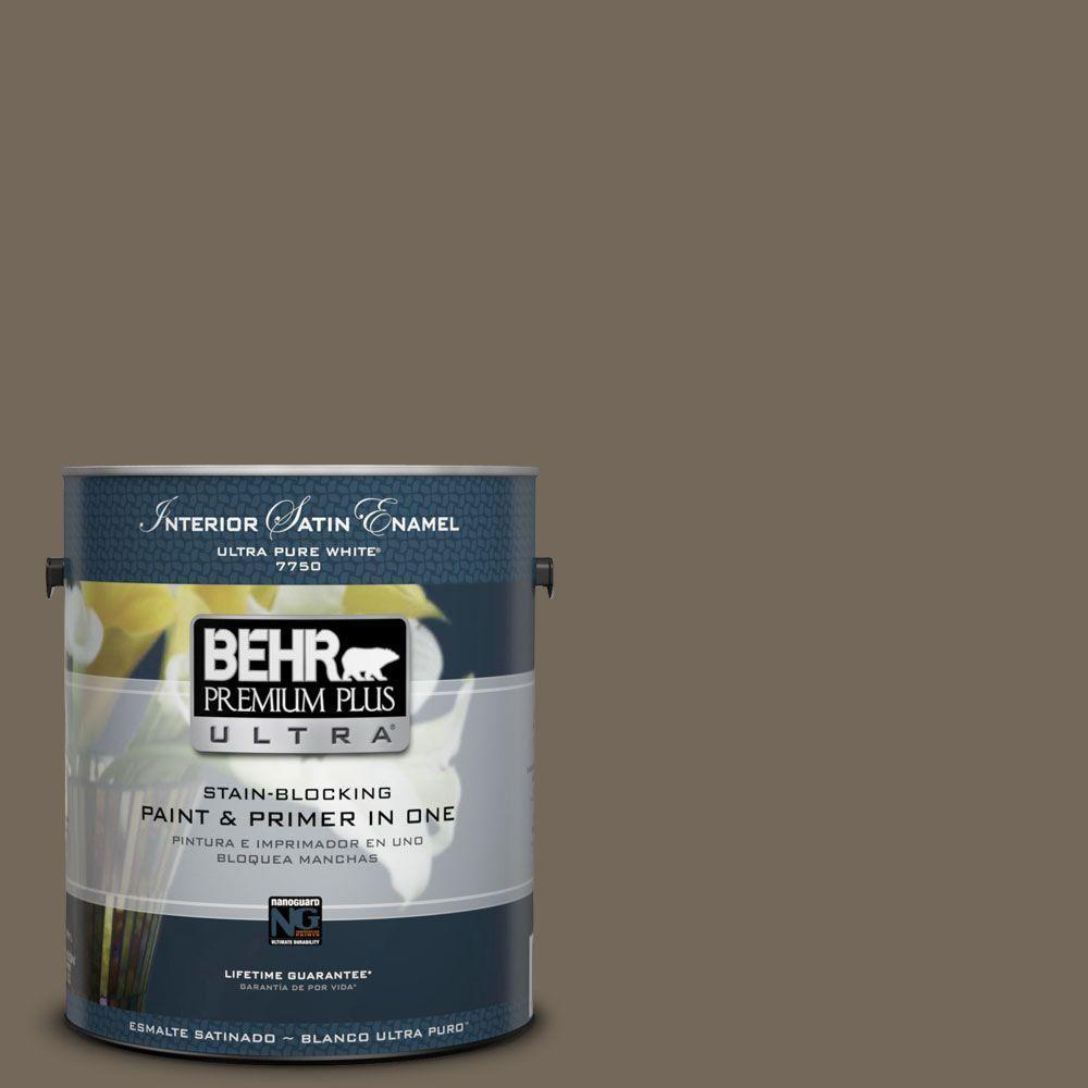 BEHR Premium Plus Ultra 1-gal. #720D-6 Toasted Walnut Satin Enamel Interior Paint