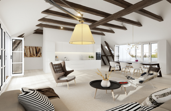 Intérieur Idées De Design Salon Avec Poutres Apparentes Au Plafond - Interieur poutre apparente pour idees de deco de cuisine