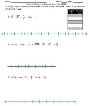 Rational Numbers And Square Roots Cc 8 Ns 1 Rational Numbers Common Core Math Worksheets Math Integers