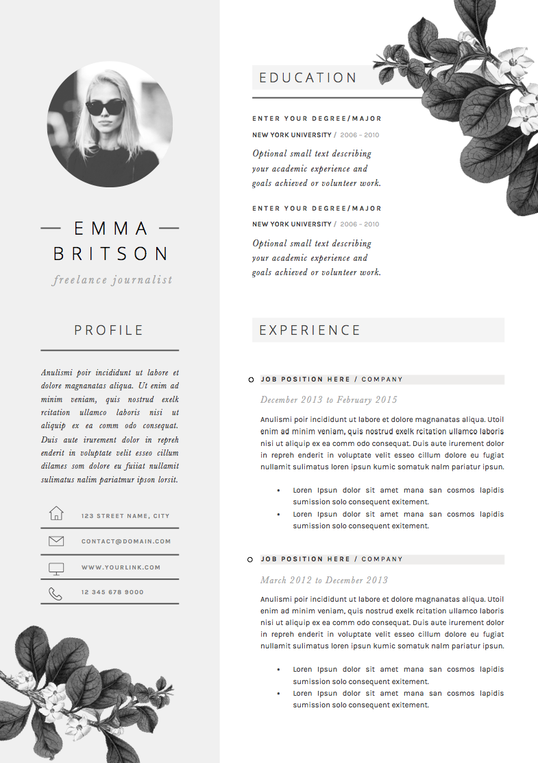 Resume Template 4page | Petal by The.Resume.Boutique on @creativemarket