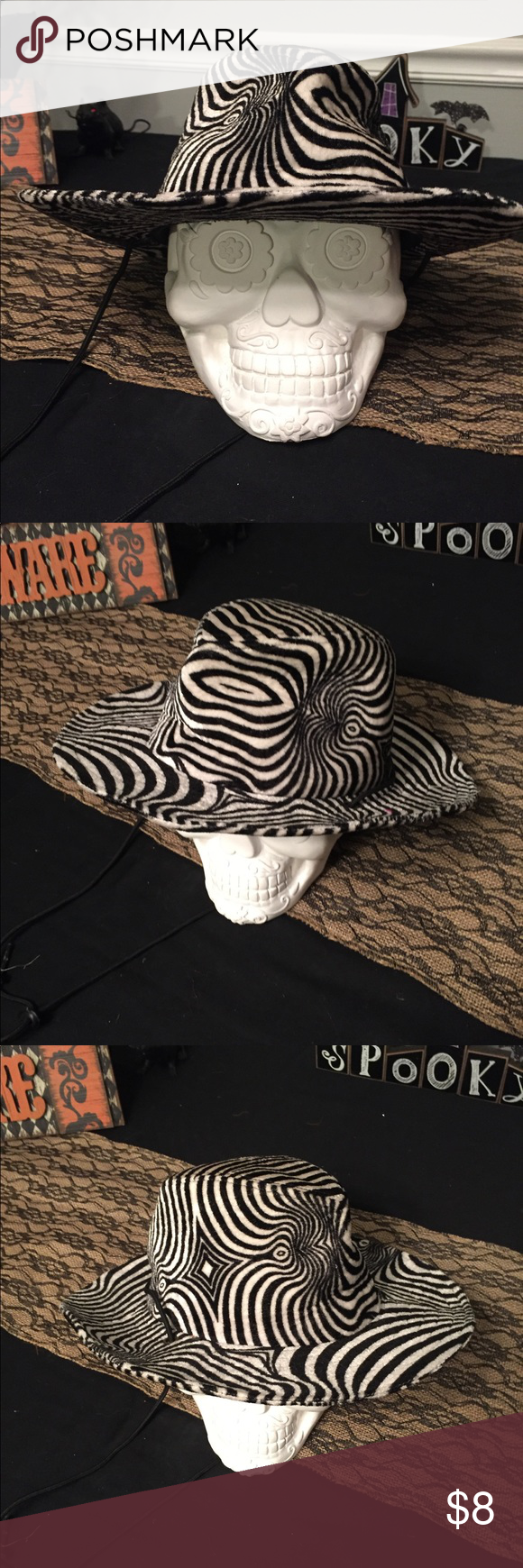Halloween Costume Hat Zebra Print One size Halloween Costume Hat. Zebra  print with drawstring. Perfect for a gangster or space cowboy costume. 45d8147e17a
