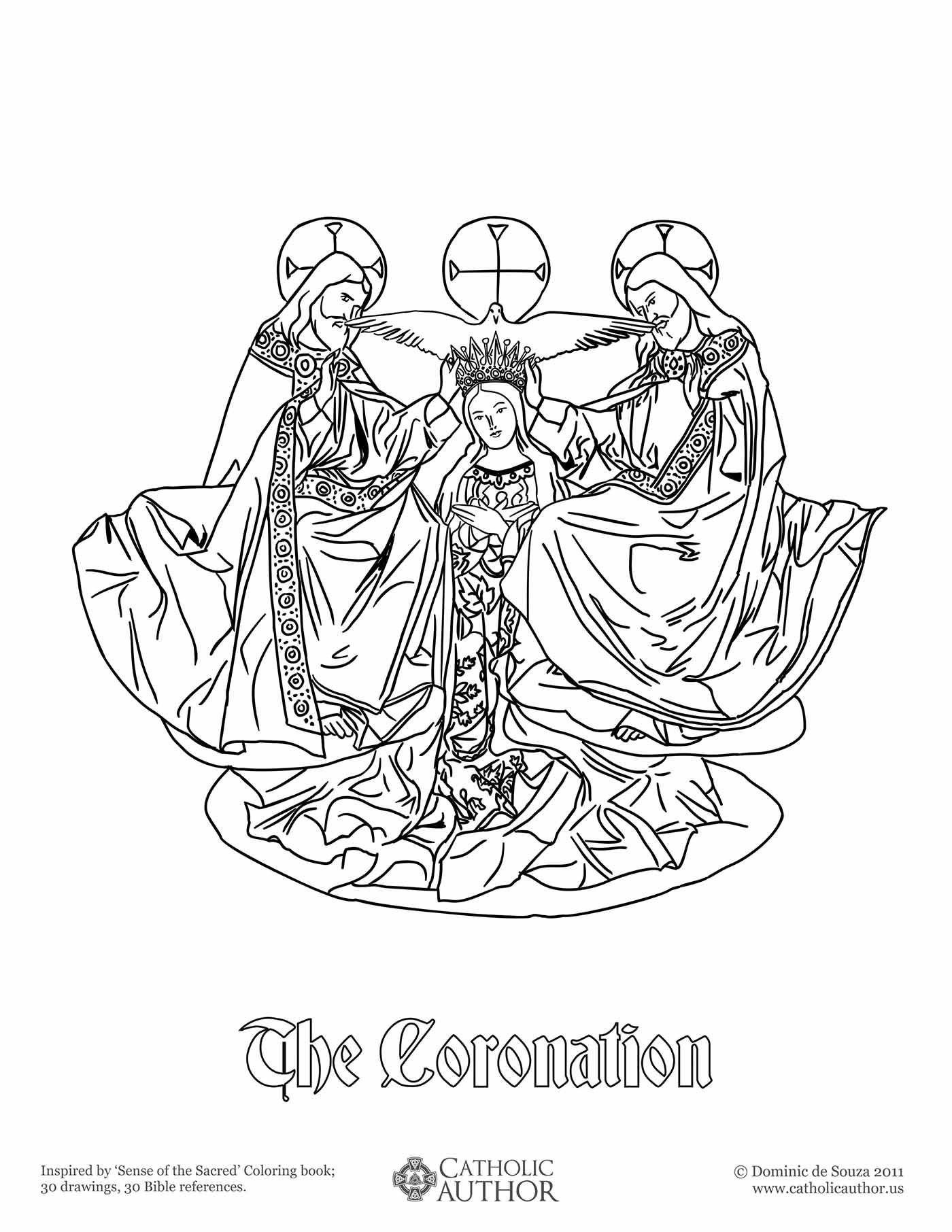 The Coronation - Free Hand-Drawn Catholic Coloring Picture | vérité ...
