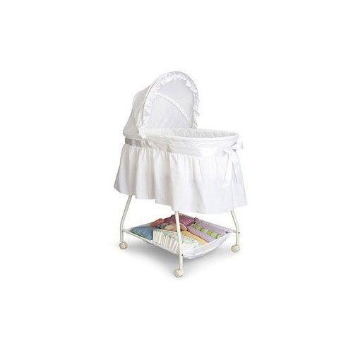 White Infant Bassinet Cradle Baby Storage Portable Rolling Sleeper