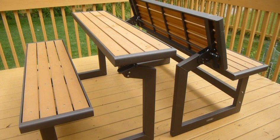 Furniture Modern Convertible Picnic Table Bench Set