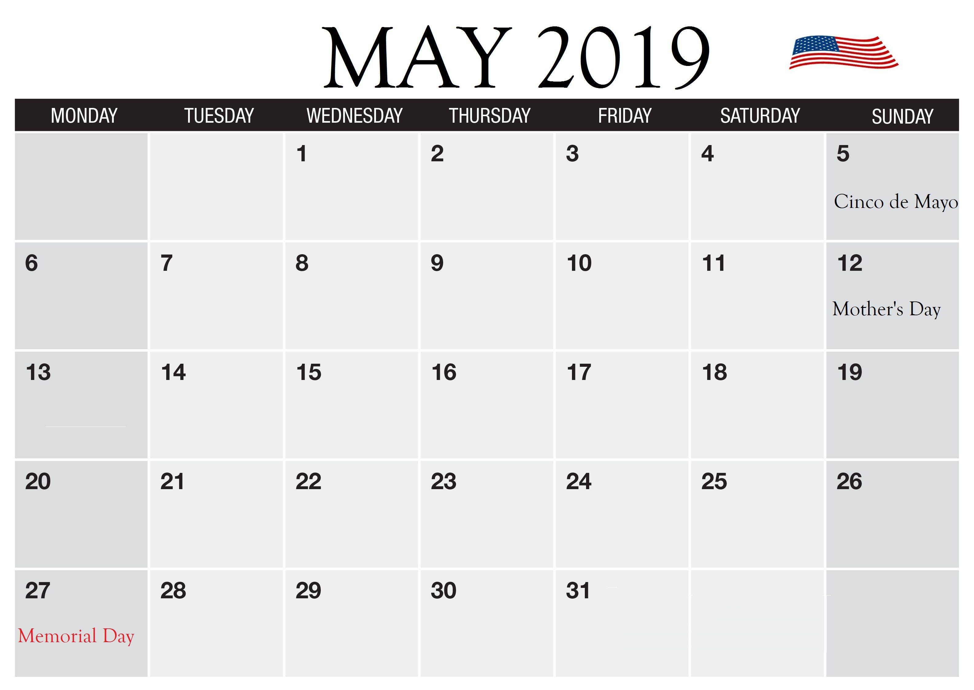 Pin On 150 Printable May Calendar 2019