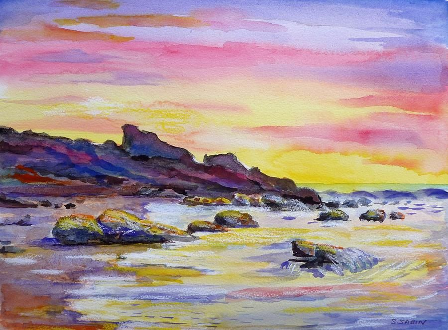 Sunset Beach By Saga Sabin Watercolor Sunset Beach Watercolor