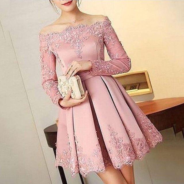Fabuloso Rosa Empoeirado Apliques Curto Vestidos mulheres Curto Prom ...