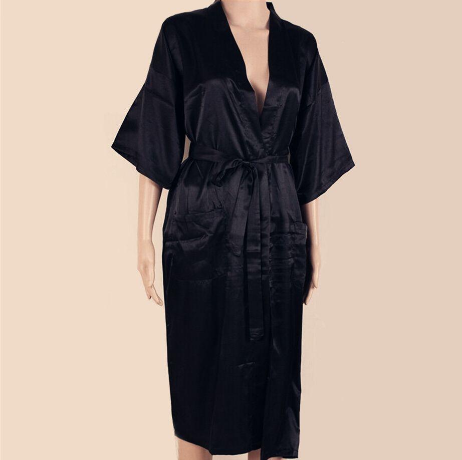 BLACK Mens Robe Hot Sale Faux Silk Kimono Bath Gown Bathrobe ...