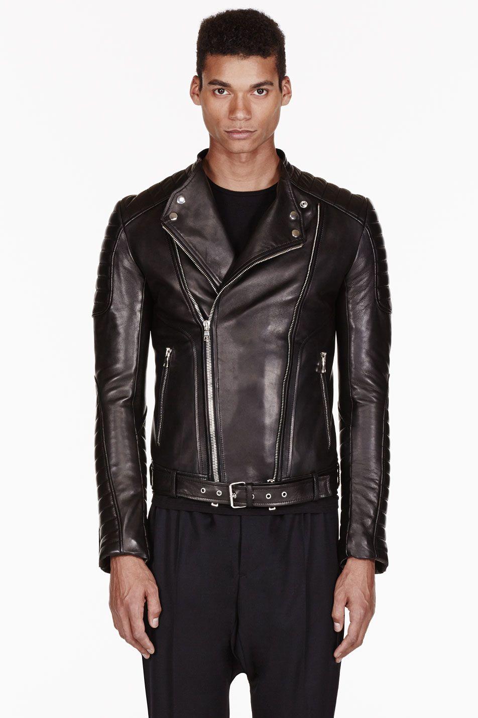 Balmain Black Leather Ribbed Biker Jacket Ssense Leather Fashion Men Jackets Men Fashion Balmain Leather Jacket [ 1428 x 952 Pixel ]