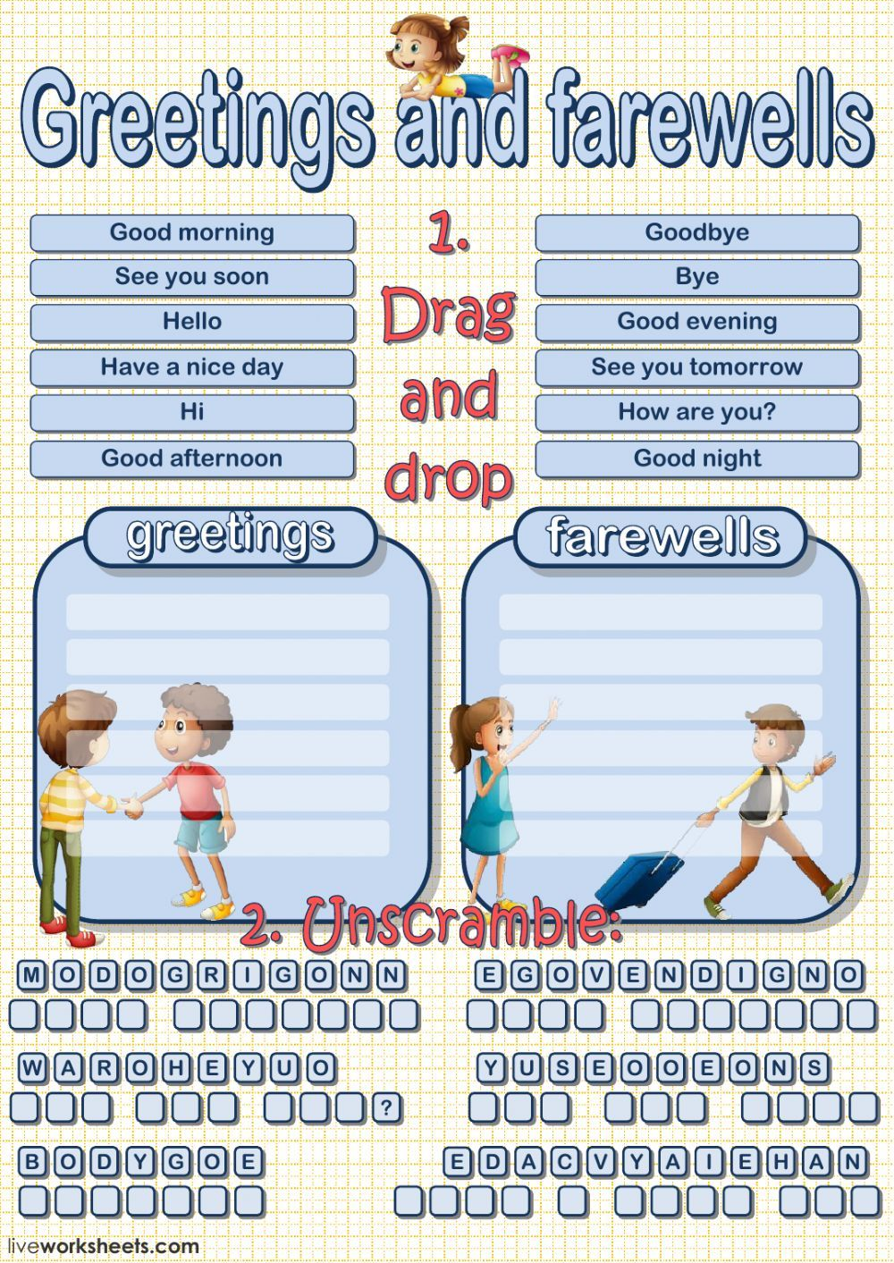 Greetings And Farewells Interactive And Downloadable Worksheet You Can Do The Exe Learning English For Kids English For Beginners English As A Second Language