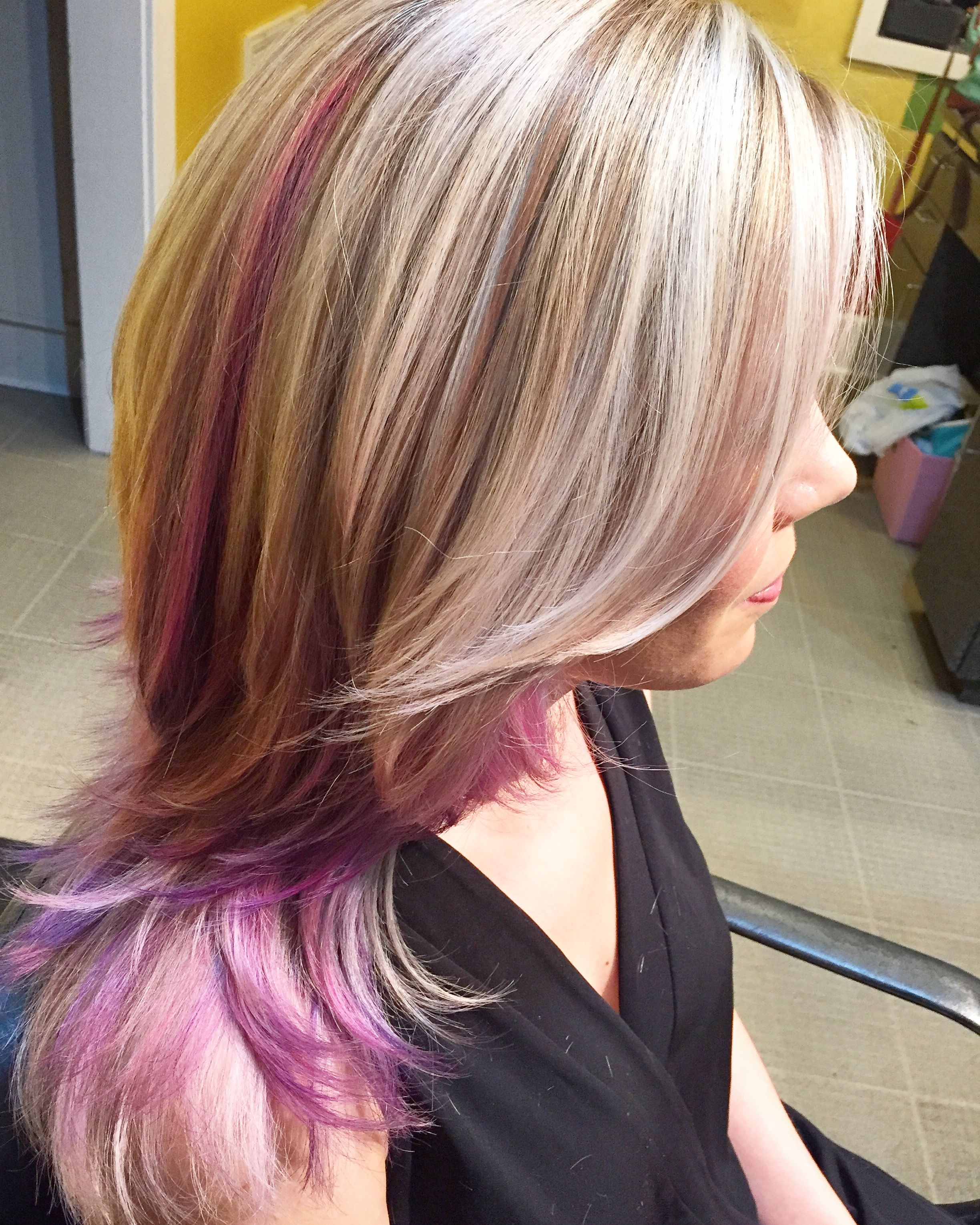 Platinum Blonde Highlights With Light Purple And Pink Throughout And