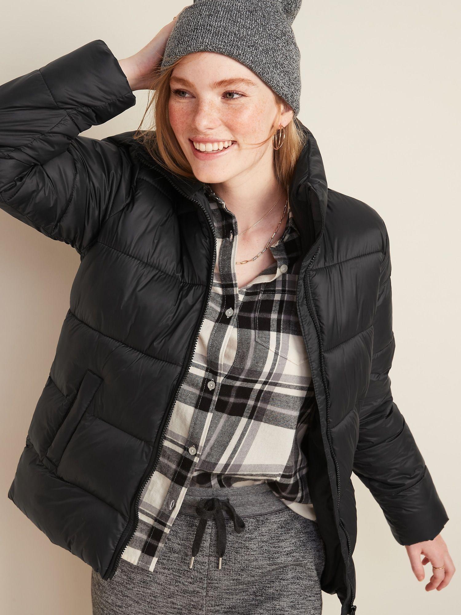 Frost Free Zip Front Puffer Jacket For Women Old Navy In 2021 Jackets For Women Short Black Jacket Black Winter Jacket [ 2000 x 1500 Pixel ]