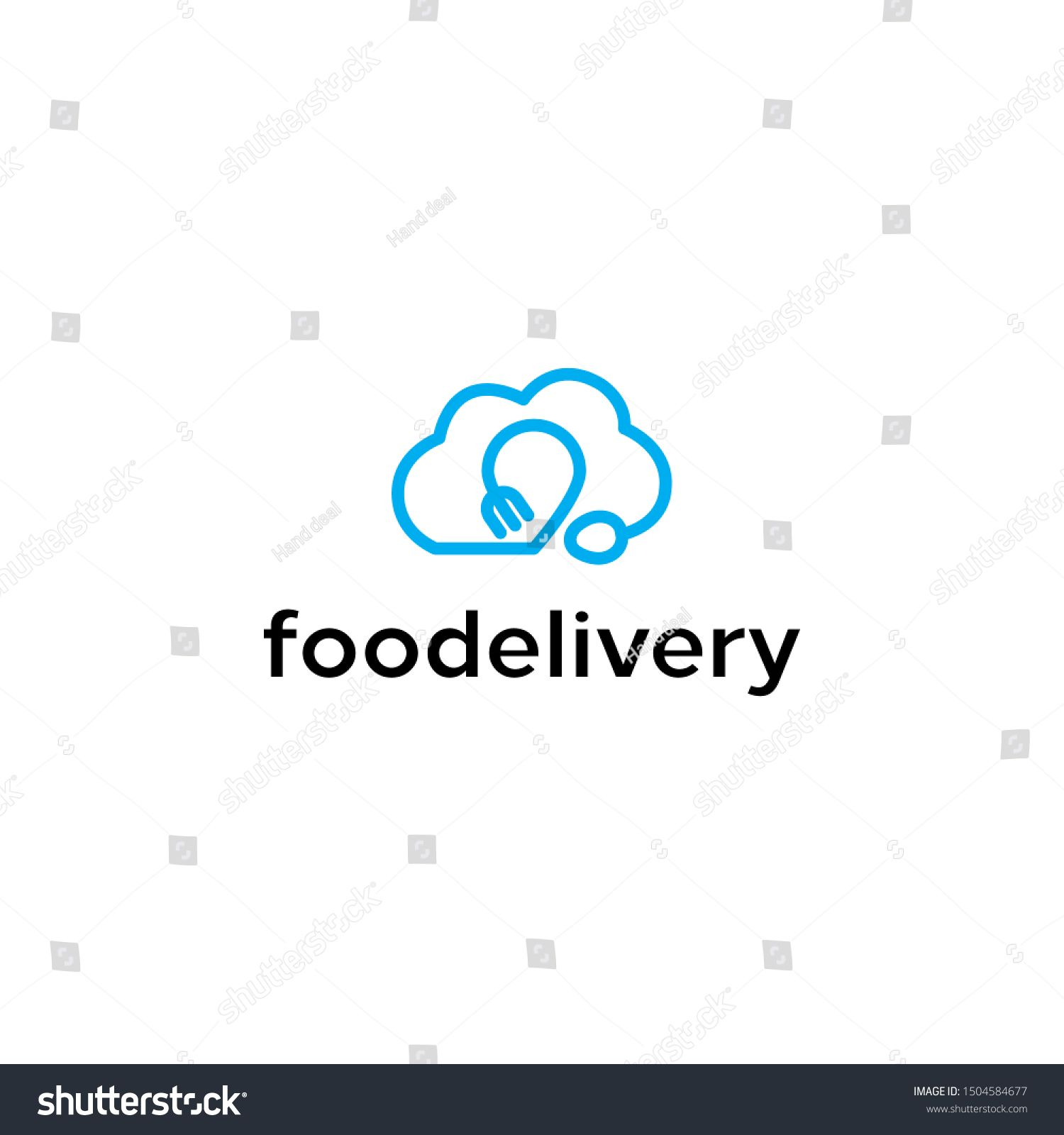 spoon and fork forming cloud and position or map pin idea logo concept design. vector icon eps10. unique illustration inspiration with mono line style. fresh and cool food and drink delivery logos. #Sponsored , #SPONSORED, #concept#logo#idea#icon
