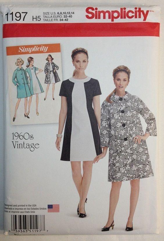 Simplicity 1197 Retro Vintage 1960\'s Dress - Coat - Sizes 6 - 8 - 10 ...
