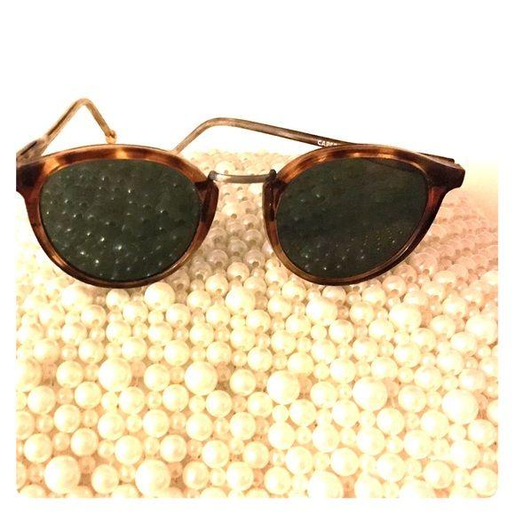 VINTAGE RETRO CAT EYE Style SUN GLASSES Unique Matte Gold Mesh Frame Brown Lens