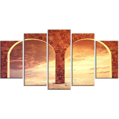 DesignArt 'Fantasy Background with Two Arches' 5 Piece Photographic Print on Wrapped Canvas Set