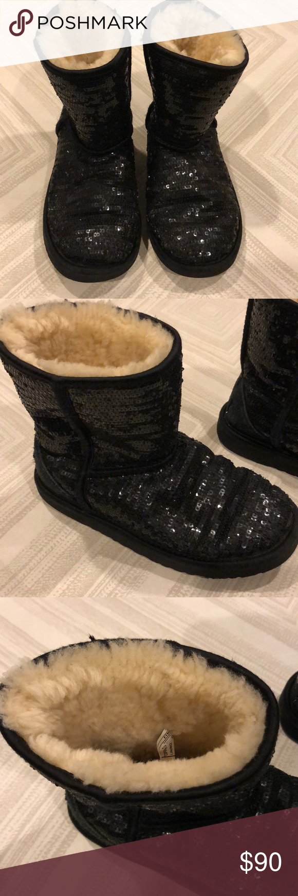 UGG Black Sequins Big Girls Short Boots Gently worn in great condition. Short boots with black sequins. Label in back fraying a little. Size 3. BM. UGG Shoes Boots #uggbootsoutfitblackgirl UGG Black Sequins Big Girls Short Boots Gently worn in great condition. Short boots with black sequins. Label in back fraying a little. Size 3. BM. UGG Shoes Boots #uggbootsoutfitblackgirl