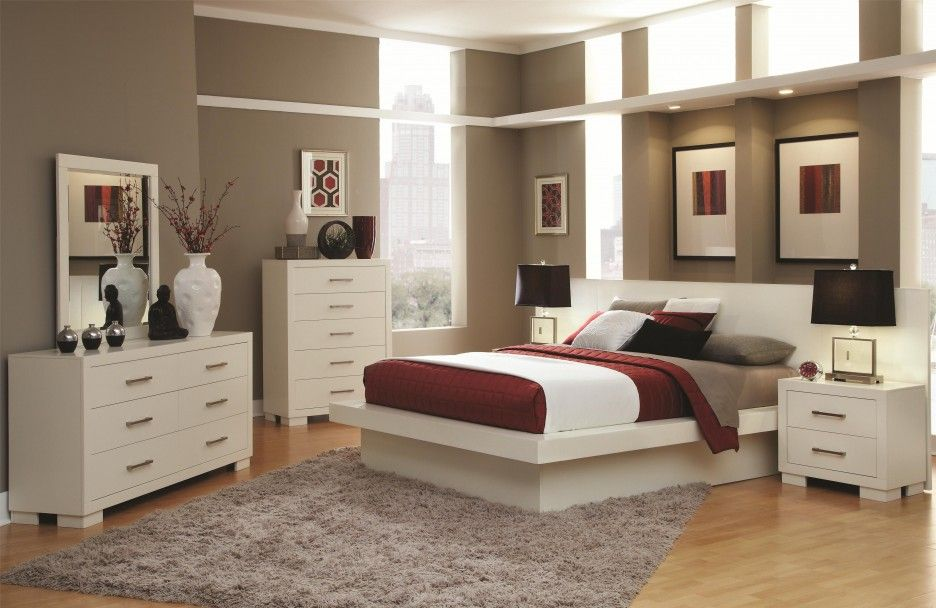 luxurious bedroom design equipped with wooden flooring and furnished with cheap bedroom sets in white color - Color Bedroom Design