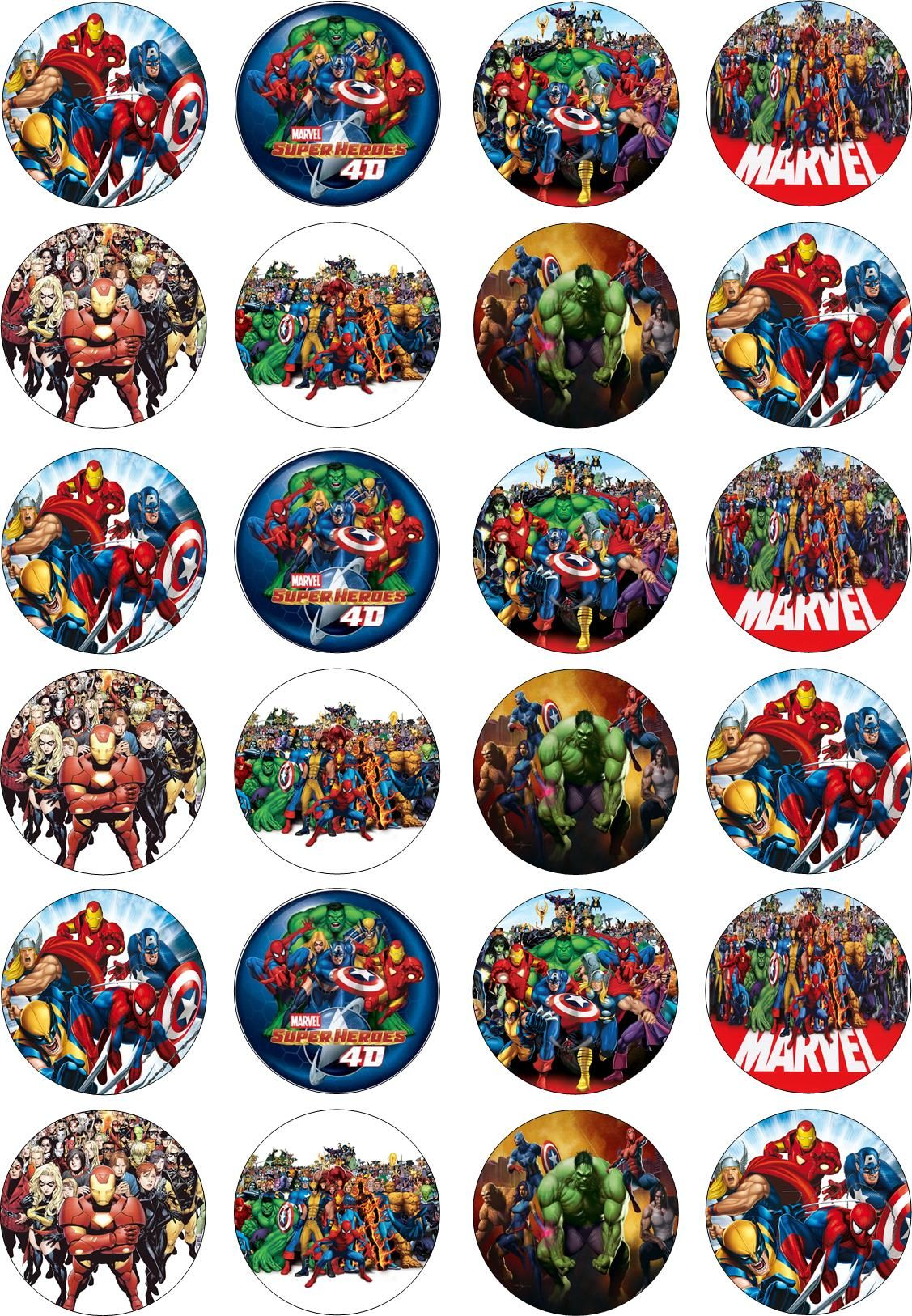 The Avengers Rice Card Edible Cake Toppers